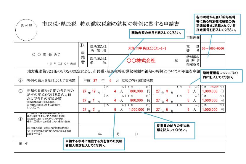 納期の特例の申請書記載例